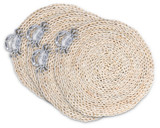 Twisted Seagrass Placemats with Pewter Crabs - Set of 4
