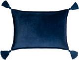 Deep Blue Velvet Oblong Pillow with Tassels front
