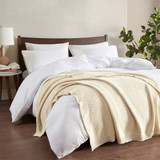 Cream Ivory Bree Knit Throw on bed