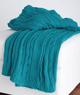 Turquoise Cable Knit Cotton Throw