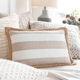 Wharf Stripe Jute Braided Trim 13 x 20 Oblong Pillow