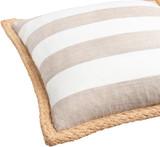 Wharf Stripe Jute Braided Trim 18 x 18 Pillow close up edge