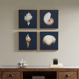 Indigo Ocean Blue Framed Sea Shell 4-Piece Prints room view