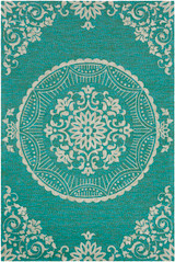Sea Aqua Medallion Hand-Hooked Area Rug