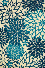 By the Sea Blue Blooms Hand-Hooked Area Rug