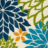 By the Sea Bright Blooms Hand-Hooked Area Rug  close up