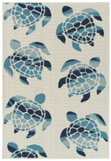 Ivory Sea Turtle Frolic Indoor-Outdoor Rug