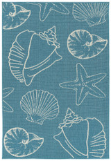 Light Blue Sea Shells Indoor-Outdoor Area Rug