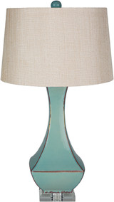 Bell Haven Teal Ceramic Table Lamp light off