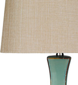 Bell Haven Teal Ceramic Table Lamp shade close up