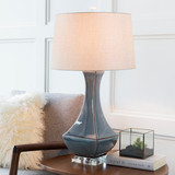 Bell Haven Sea Blue Ceramic Table Lamp room view 3