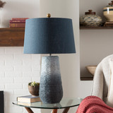 Amalfi Blue Jute Wrapped Table Lamp room view light off