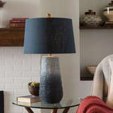 Amalfi Blue Jute Wrapped Table Lamp room view light on