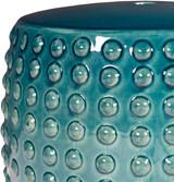 Delmar Teal Ceramic Garden Stool close up top