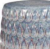 Blackwell Artisan Blue Ceramic Garden Stool top close up