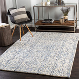Ionian Cream and Blue Hand-Tufted Wool Area Rug room example