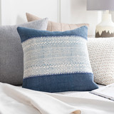 Laguna Denim Hand-Embroidered Boho 20 x 20 Pillow room view