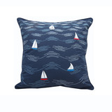 Waves and Sailboats Embroidered Indoor-Outdoor Pillow