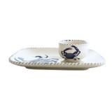 Blue Crab Platter and Dip Bowl Set side view