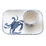 Blue Crab Platter and Dip Bowl Set