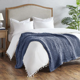 Chunky Handmade Double Knit Throw - Navy on bed