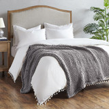 Charcoal Chunky Handmade Double Knit Throw room view