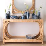 Primrose Woven Rattan Console Table with mirror