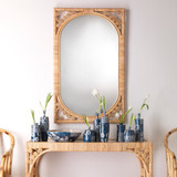 Primrose Woven Rattan Mirror entry view with console table