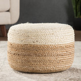 Oliana Ombre White Cylinder Pouf - Small room view