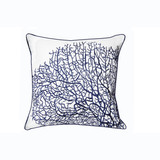 Fan Coral Navy Blue and White Embroidered Pillow