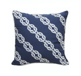 Navy and White Rope Chain Embroidered Pillow