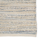 Canterbury Natural White and Blue Stripe Woven Area Rug edge close up