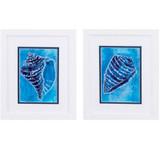 Ceruliean Shells A White Framed Art - Set of Two