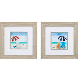 Colorful Beach Chairs and Umbrella Prints