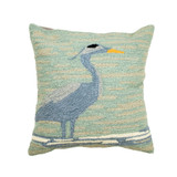 Blue Heron on the Shore Hooked Pillow