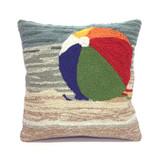 Striped Beach Ball Hooked Pillow