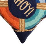 Colorful Ahoy Indoor-Outdoor Pillow Navy Pillow corner