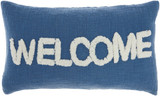 Cottage WELCOME Blue Throw Pillow