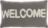 Cottage WELCOME Grey Throw Pillow