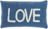 Cottage LOVE Blue Throw Pillow