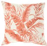 Banana Leaf Coral Orange Indoor-Outdoor Throw Pillow