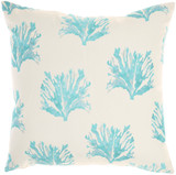 Coral and Dot Turquoise Indoor-Outdoor Throw Pillow