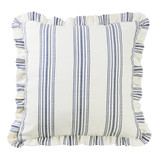 Ruffled Prescott Navy Ticking Striped Euro Sham