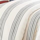close up Prescott Navy Ticking Striped Comforter Queen Size Set