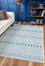Aqua Surfer's Beach Indoor-Outdoor Area Rug room view
