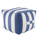 Chatham Indoor-Outdoor Striped Nautical Blue Square Pouf