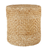 Beachcomber Woven Beige-White Tall Cylinder Pouf