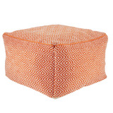 Loranca Indoor-Outdoor Trellis Orange Cubed Pouf