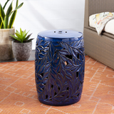Cobalt Blue Acanthus Garden Stool room view