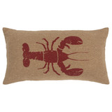 Printed Lobster Burlap Rectangle Pillow